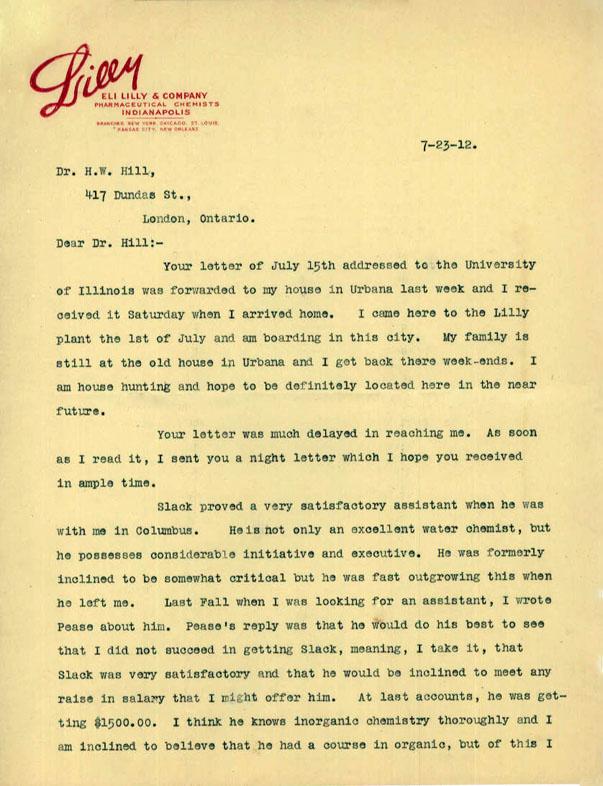 Letter of recommendation to dr h w hill regarding dr a j slack expocarfo Choice Image