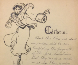 Image of letter with drawing of woman skating, accompanied by handwriting.