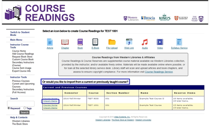 "Course Readings Instructor view with ""Import Items"" link in list of current and previously taught classes highlighted"