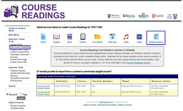 "Instructor view of a course within the ""Course Readings"" service with ""Add Course Readings"" highlighted in the left navigation menu and the ""Syllabus Service"" icon highlighted in the top navigation"