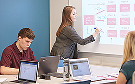 Students using a smart board