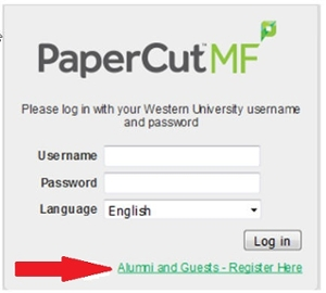 Alumni and Guests register here PaperCut login screen