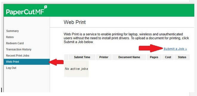 PaperCut Submit A Job