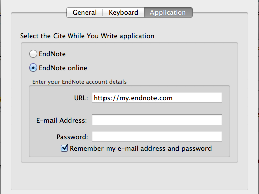 EndNote Cite While You Write Preferences