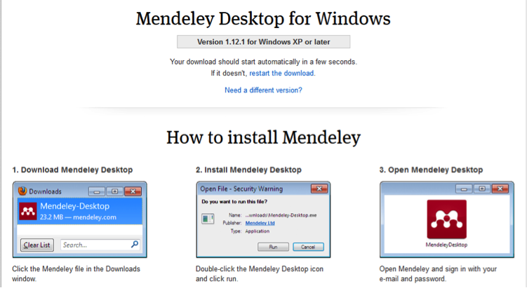 Mendeley Download Screen