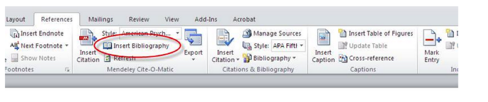 Mendeley Insert Bibliography in the MS Word toolbar