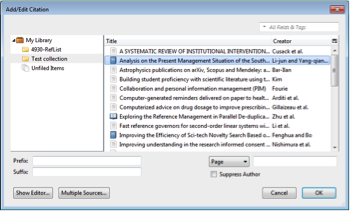 Zotero Add/Edit Citation Window