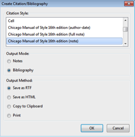 Zotero Create Bibliography Options Window