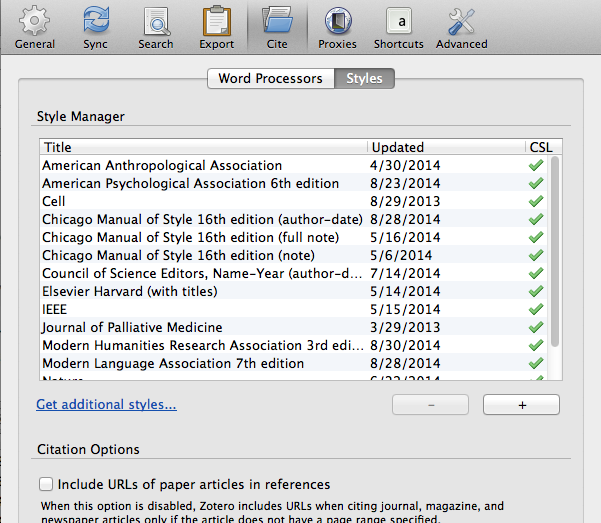 Zotero Styles Preferences Window