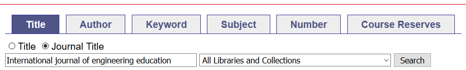 search a journal title in the catalogue