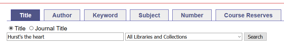 Book title search in catalogue